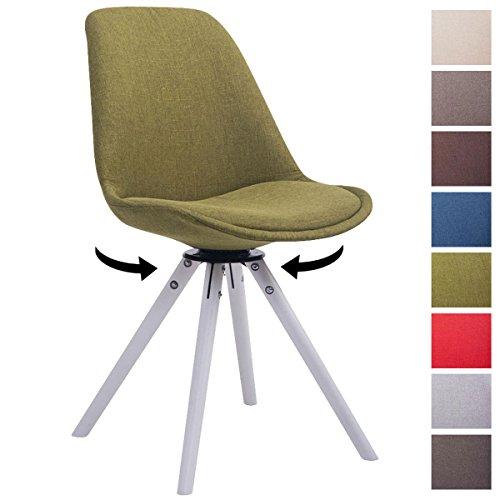 CLP Design Retro-Stuhl TROYES RUND mit Stoffbezug und hochwertiger Polsterung | Drehbarer Stuhl mit Schalensitz und massiven Holzbeinen | In verschiedenen Farben erhältlich Grün, Holzgestell Farbe weiß, Bein-Form rund