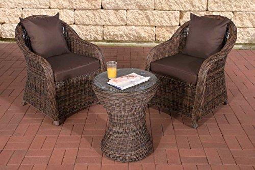 CLP Poly-Rattan Balkon-Set SANDINO, Stellfläche ca. 3 qm, 2 Sessel + Beistell-Tisch rund Ø 50 cm, 5 mm RUND-Geflecht Rattan Farbe braun-meliert, Bezugfarbe: Terrabraun