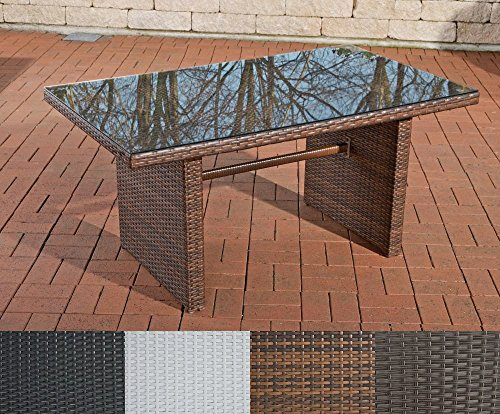 clp poly rattan garten tisch fisolo ca 140 x 80 cm h he 66 cm alu gestell glasplatte 5 mm. Black Bedroom Furniture Sets. Home Design Ideas