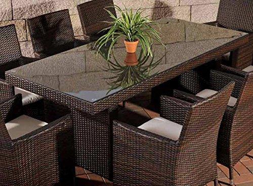 CLP Poly-Rattan Tisch AVIGNON BIG, bis zu 7 Rattan-Farben, Größe: 200 x 90 cm, Höhe: 75 cm braun-meliert