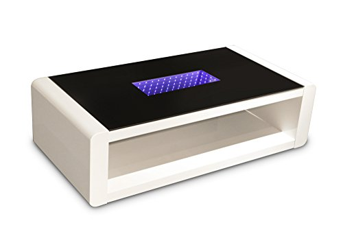 CAVADORE Couchtisch HUTCH/moderner, niedriger Tisch mit schwarzem Glas und 3d-LED-Beleuchtung/mit Akku und 5m Ladekabel/mit Ablage/Hochglanz Weiß/120 x 60 x 35 cm (L x B x H)