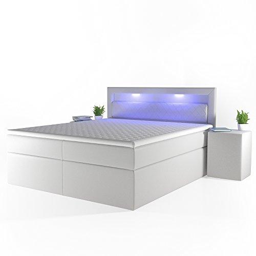 Design Boxspringbett LED Doppelbett Bett Hotelbett Ehebett 180x200 cm weiß