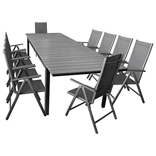 Elegante Sitzgarnitur 11-teilig Sitzgruppe Gartengarnitur Gartenmöbel Terrassenmöbel Set Aluminium Polywood Ausziehtisch 280/220x95cm + 10x Hochlehner 2x2 Textilenbespannung