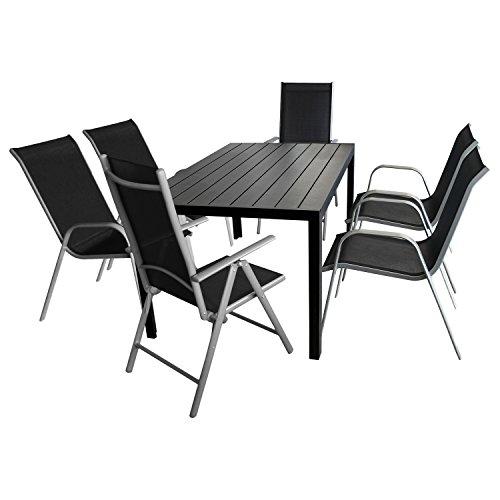Multistore 2002 Gartenmöbel Set 7-teilig Gartentisch, Polywood-Tischplatte, 150x90cm + 4x Gartenstuhl, stapelbar, Textilenbespannung + 2x Hochlehner, klappbar, 7-fach verstellbar