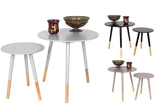 Holz Beistelltisch RETRO in 2er Set - 3 Farben wählbar - Couchtisch Designer Tisch Sofatisch