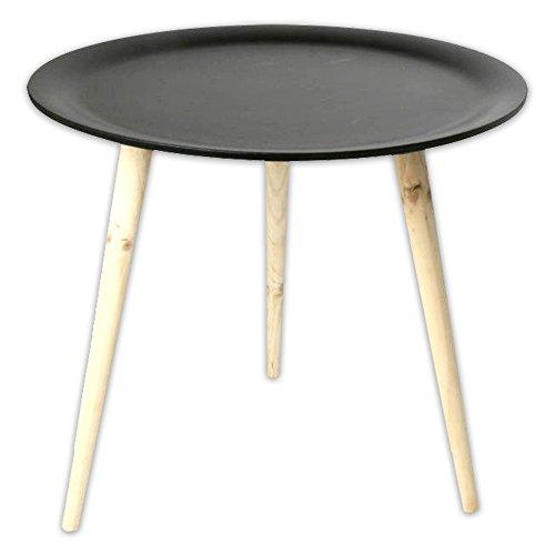 Moderner Tisch im Retro Stil aus Kiefernholz Ø 38 cm Ø 48 cm in schwarz + weiss
