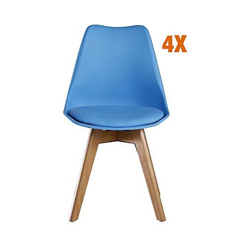 P & N Homewares® Lorenzo Tulip Stuhl Kunststoff Retro Esszimmer Stühle weiß schwarz grau rot gelb pink grün blau (Set von 4) blau