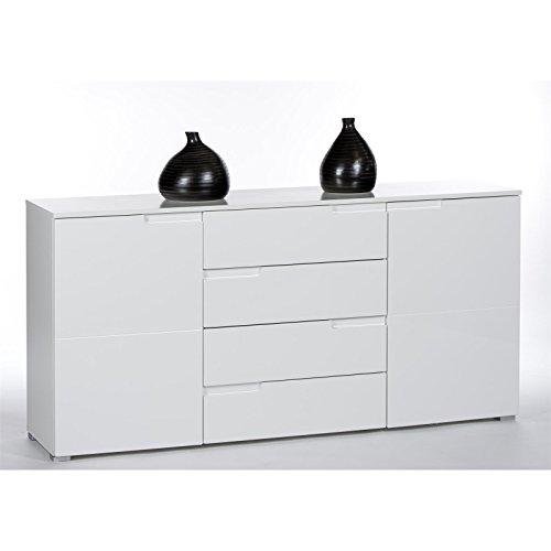 CARO-Möbel Sideboard Anrichte Kommode MONA, 2 Türen und 4 Schubladen, in weiß Hochglanz