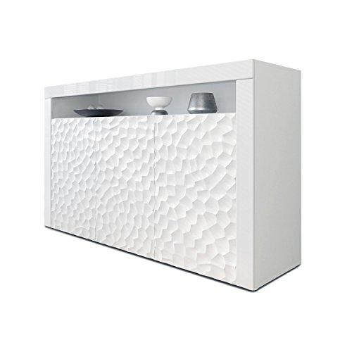 Sideboard Kommode Valencia, Korpus in Weiß matt / Fronten in Weiß Hochglanz Calypso mit 3D Struktur und Blenden in Weiß Hochglanz