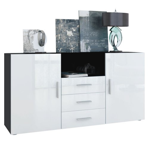 sideboard skadu korpus in schwarz matt front in wei hochglanz m bel24. Black Bedroom Furniture Sets. Home Design Ideas