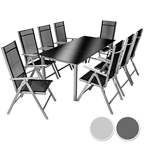 tectake aluminium sitzgarnitur 81 sitzgruppe gartenmbel tisch stuhl set diverse farben silber. Black Bedroom Furniture Sets. Home Design Ideas