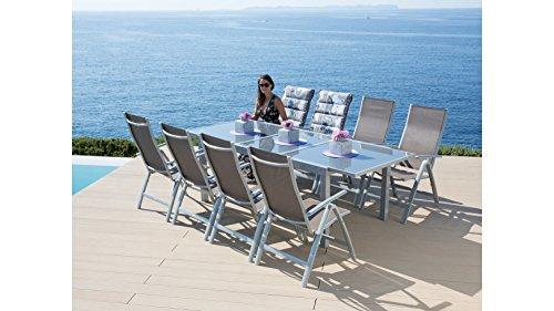 baumarkt direkt Gartenmöbelset Amalfi, 9-tlg, 8 Hochlehner, Tisch 180-240 cm, Alu/Textil taupe