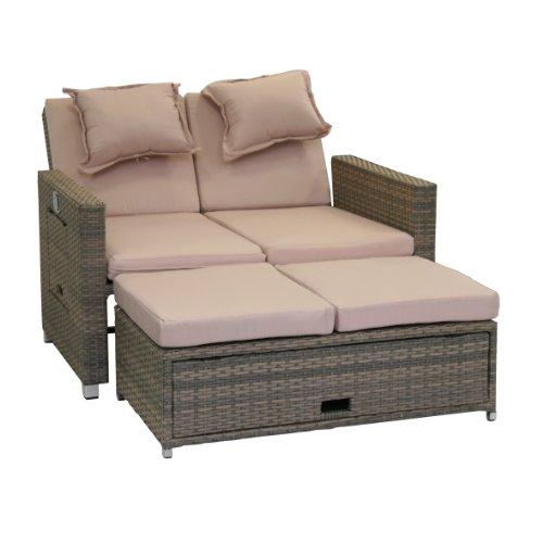 greemotion Love Seat aus Stahl und Polyethylengeflecht mit stufenlos verstellbarer Rückenlehne, Maße:  ca. 121 x 86 x 99 cm