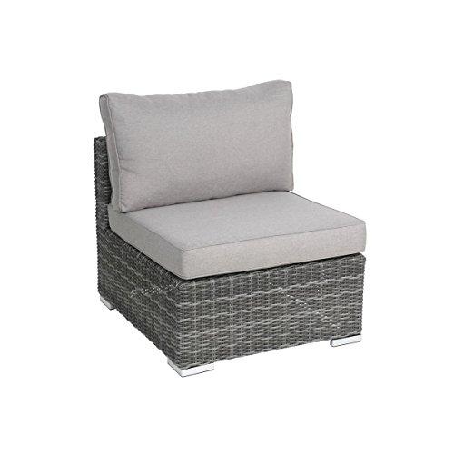 greemotion Sessel Bari anthrazit, inklusive Auflage in Grau, Halbrundgeflecht aus Polyethylen, Gartensessel aus Aluminumgestell, Rattansessel passend zur Serie Bari