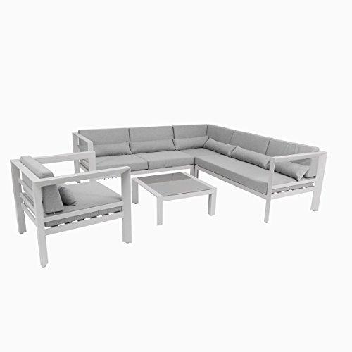 greemotion Lounge Stockholm weiß/grau, inklusive Auflagen aus Textilene, Eckbank mit Tisch für In- und Outdoor, hochwertiges Aluminiumgestell, Sitzelemente einfach umzustellen