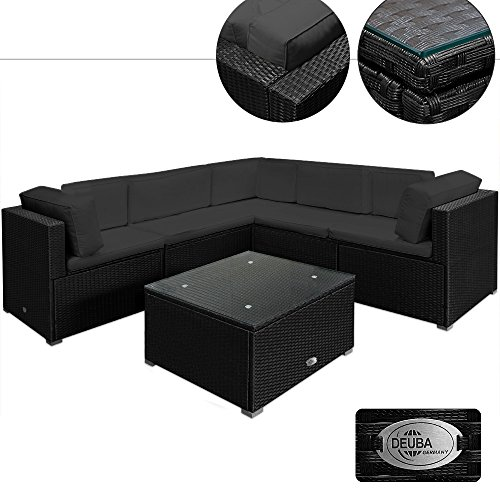Deuba® Poly Rattan XXL Lounge Set Schwarz | 15cm dicke Rückenkissen + 7cm dicke Sitzauflagen Anthrazit | Tisch inkl. Glasplatte | abnehmbare, waschbare Bezüge | UV-beständiges Polyrattan - Couch Sitzgarnitur Sitzgruppe Gartenlounge Gartenmöbel Set