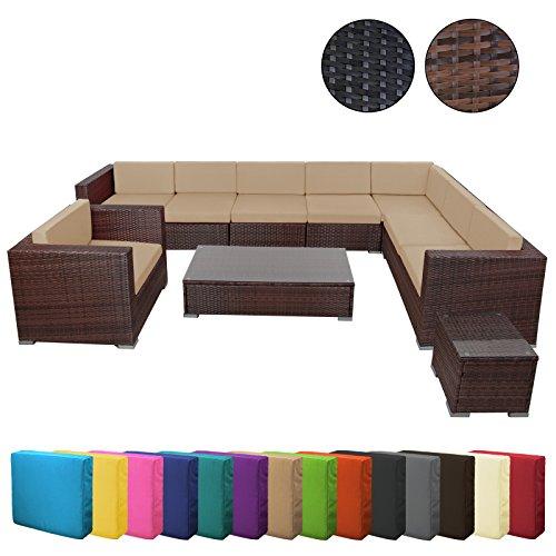 25 teilige Poly-Rattan Lounge Sitzgruppe HAVANNA Gartenmöbel Essgruppe Gartenset Lounge Sitzgruppe inkl. Auflagen und Bezüge große Farbauswahl Garten Möbel Rattanmöbel Gartenmöbel-Set Polyrattan