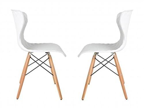 2er Set Stuhl CROW BEECH Esszimmerstuhl in weiss