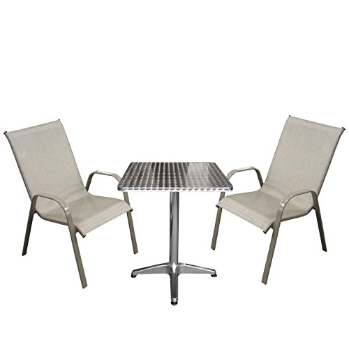 3tlg bistrogarnitur bistro set balkonm bel aluminium bistrotisch 60x60x70cm gartenstuhl. Black Bedroom Furniture Sets. Home Design Ideas