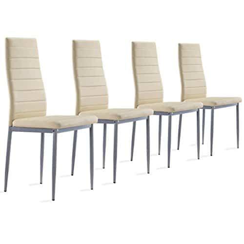 4 Stück Esszimmerstühle, Küchenstühle mit hochwertigem Kunstlederpolster - schwarz,beige, weiß oder braun