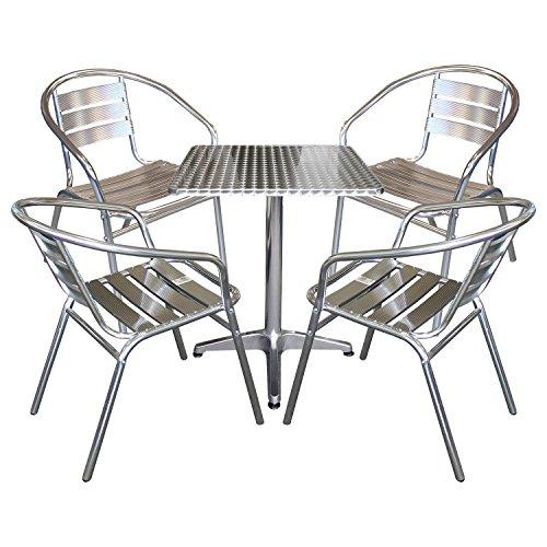 Multistore 2002 5tlg. Bistrogarnitur Bistrotisch, Aluminium, 60x60cm + 4x Bistrostuhl, Aluminium, stapelbar/Sitzgruppe Sitzgarnitur Gartenmöbel Gartengarnitur Bistromöbel