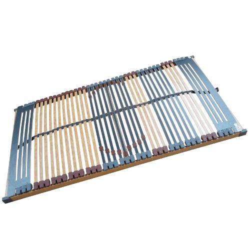 7 Zonen Lattenrost Rhodos NV 44 Leisten Triokautschukkappen, Mittelgurt, Querholme 100% BUCHE massiv Lattenroste in verschiedenen Größen