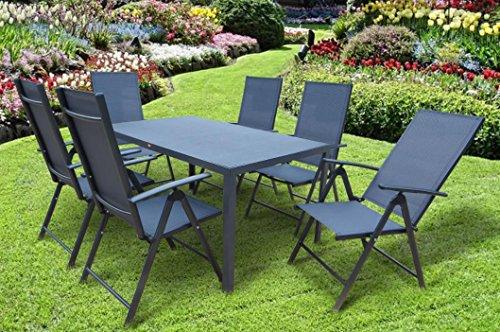 """7-teilige absolut wetterfeste Gartenmöbelgruppe """"Joy"""", Aluminium Textilen und Spraystone, aus dem Hause Mandalika und Siena Garden, anthrazit"""