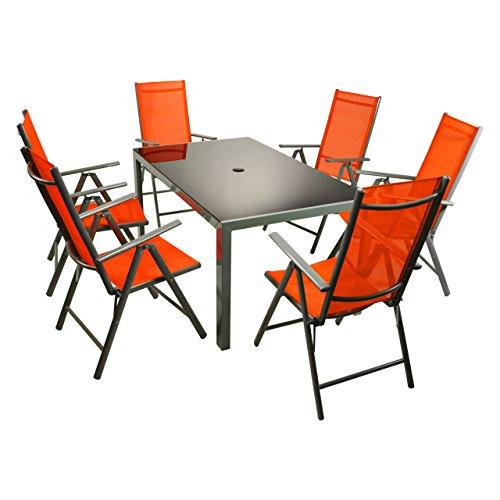 Nexos 7tlg. Gartengarnitur Alu Sitzgruppe Sitzgarnitur Gartenstühle Glastisch orange