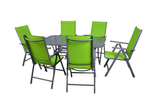 Nexos 7-teiliges Gartenmöbel-Set – Gartengarnitur Sitzgruppe Sitzgarnitur aus Gartenstühlen & Esstisch (Glasplatte: klar) – Aluminium Kunststoff Glas – grün