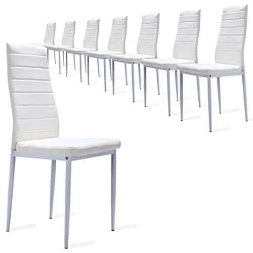 8 Stück Esszimmerstühle, Küchenstühle mit hochwertigem Kunstlederpolster - alle Farben (Weiß)