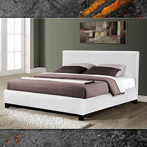 (864) Weiss Miami Doppelbett Polsterbett 160x200cm Bettgestell Bett Lattenrost