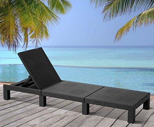 Allibert Mississippi Sonnenliege Gartenliege Strandliege Graphite Schwarz ca. 195x65x22cm