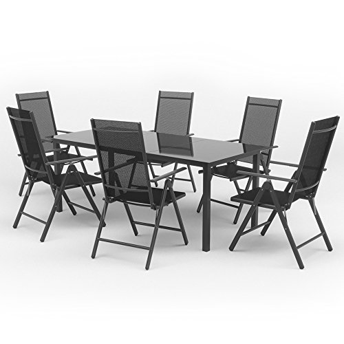 alu sitzgarnitur gartenm bel anthrazit set 9 teilig garnitur sitzgruppe 1 tisch 190x87 6. Black Bedroom Furniture Sets. Home Design Ideas