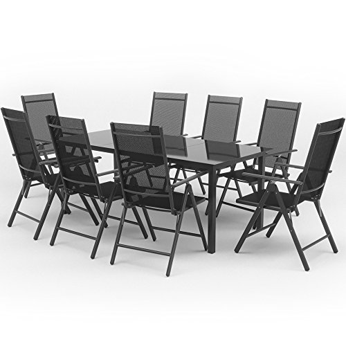 alu sitzgarnitur gartenm bel anthrazit set 9 teilig garnitur sitzgruppe 1 tisch 190x87 8. Black Bedroom Furniture Sets. Home Design Ideas