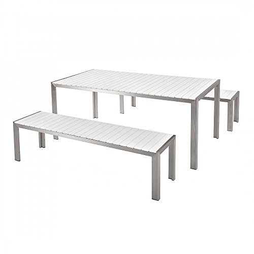 aluminium gartenm bel set weiss tisch 180cm 2 b nke. Black Bedroom Furniture Sets. Home Design Ideas