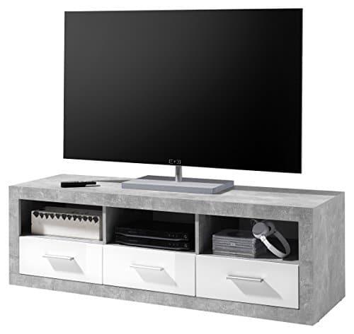 Bega Stone Lowboard 45-672-D5 Holzdekor, Beton / Weiß Glanz, 147 x 45 x 48,5 cm
