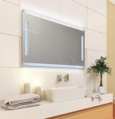 Badspiegel LED beleuchtet - Touch Sensor, Satinierte Lichtflächen, 120 x 40 cm [Energieklasse A+]
