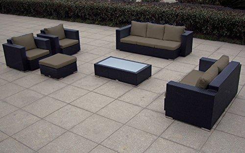 Baidani Rattan Garten Lounge Garnitur Daylight, Schwarz
