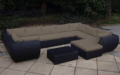 Baidani Rattan Garten Lounge Garnitur Extreme, Schwarz