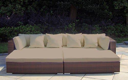Baidani Rattan Garten Lounge Garnitur Paradise, Braun meliert