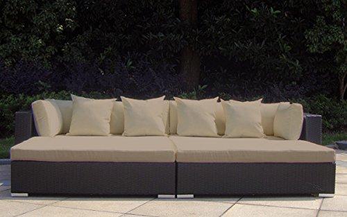 Baidani Rattan Garten Lounge Garnitur Paradise, Schwarz
