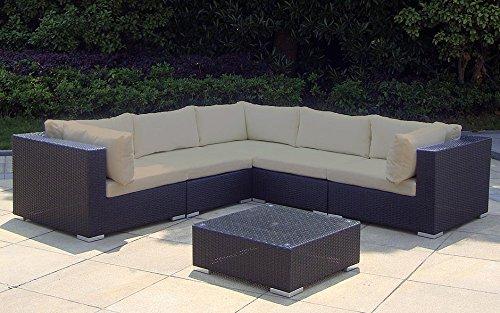 Baidani Rattan Garten Lounge Garnitur Sunshine, Schwarz
