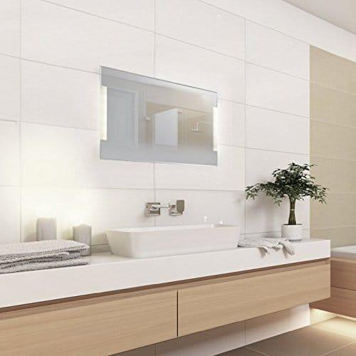 KROLLMANN Badspiegel mit LED-Beleuchtung, 90 x 60 cm, 220-240V, Spiegel mit Tageslicht Badezimmerspiegel