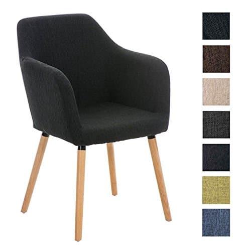 CLP Esszimmerstuhl PICARD mit hochwertiger Polsterung und Stoffbezug | Retrostuhl mit sesselförmigem Sitz und Holzgestell | In verschiedenen Farben erhältlich