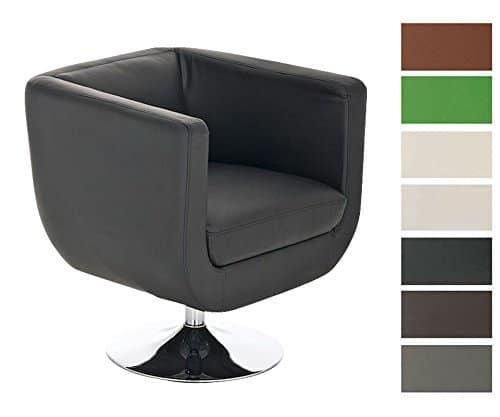 CLP Design Loungesessel COLORADO im Retrostil | Gepolsterter Cocktailsessel mit Metallgestell in Chrom-Optik | Drehbarer Clubsessel mit Trompetenfuß | In verschiedenen Farben erhältlich