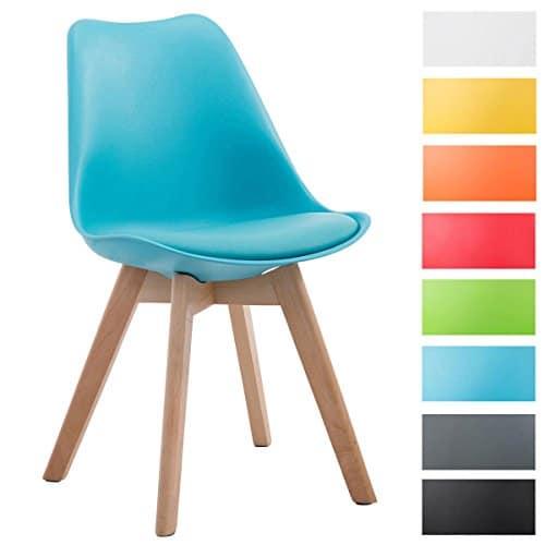 CLP Design Retro-Stuhl BORNEO V2 mit Kunstlederbezug und hochwertiger Polsterung   Lehnstuhl mit Holzgestell   Besonders pflegeleichter und strapazierfähiger Stuhl in verschiedenen Farben erhältlich