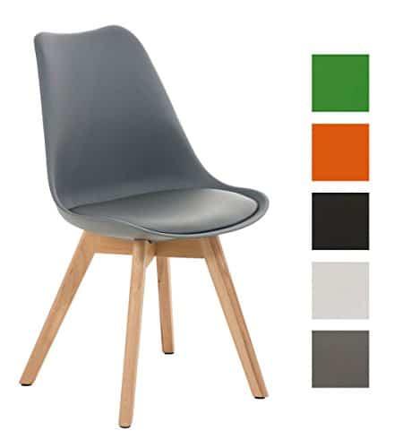 CLP Esszimmerstuhl BORNEO mit Kunststoffsitzschale und Kunstlederbezug | Polsterstuhl mit Holzgestell und einer Sitzhöhe von: 47 cm | In verschiedenen Farben erhältlich