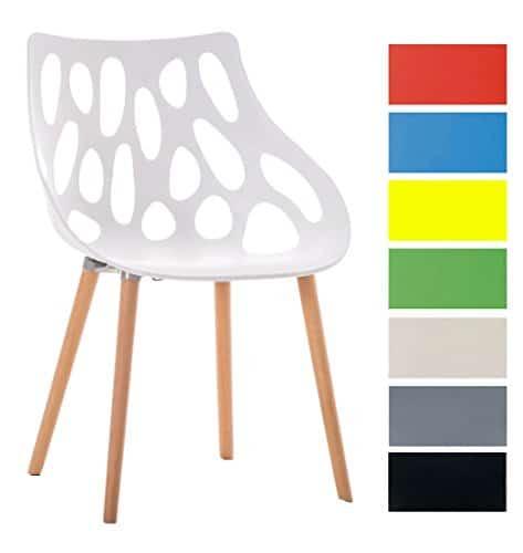 CLP Design Retrostuhl HAILEY mit pflegeleichter Kunststoff-Sitzschale und einer Sitzhöhe von 44 cm | Esszimmerstuhl mit Lehne und einem Vier-Fuß-Gestell aus Buchenholz | Besucherstuhl mit einer maximalen Belastbarkeit von 150 kg