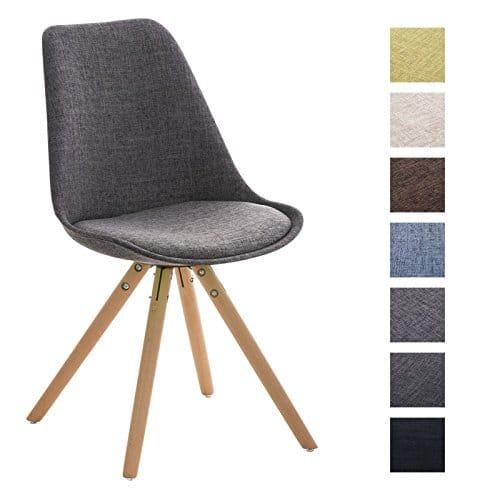 CLP Design Stuhl PEGLEG mit Stoffbezug | Gepolsterter Schalenstuhl mit Holzbeinen und einer Sitzhöhe 46 cm
