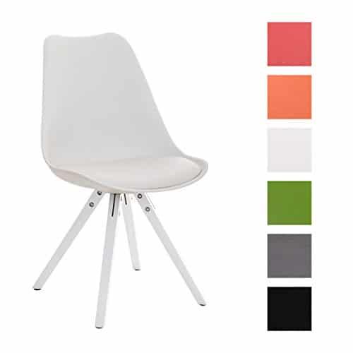 CLP Design Retro Stuhl PEGLEG SQUARE mit Holz-Gestell weiß, Materialmix Kunststoff Kunstleder Holz